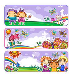 summer children banners vector image