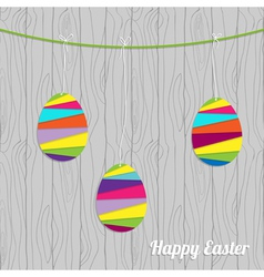 Easter card with eggs on the wood vector