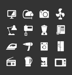 Set icons of home technics and appliances vector