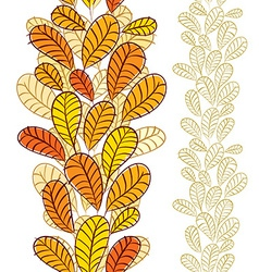 Seamless wallpaper with autumn leaves vertical vector