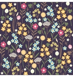 Seamless meadow flowers background vector image