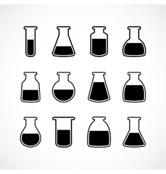 Black laboratory flask set vector
