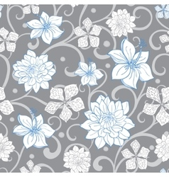 Gray sky blue swirl florals seamless vector