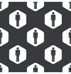 Black hexagon man pattern vector