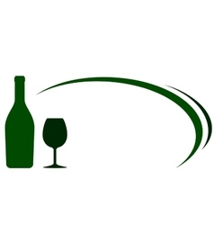 Green wine bottle and glass background vector
