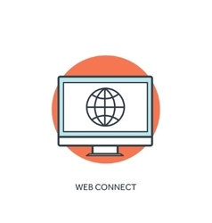 Flat lined internet icon web connection vector