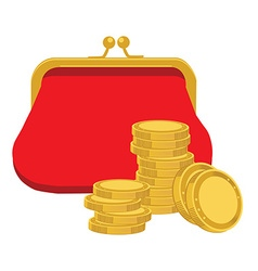 Purse and golden coins vector