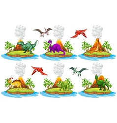 Dinosaurs living on the island vector