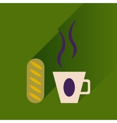 Flat with shadow icon cup of coffee and bun vector