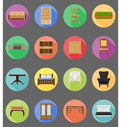 Furniture flat icons 20 vector