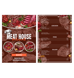 Barbecue meat menu for restaurant brochure design vector