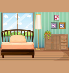 bedroom with wooden furnitures vector image vector image