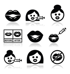 Big lips lip augmentation icons - beauty concept vector image vector image