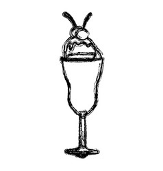 Blurred silhouette ice cream glass cup with vector