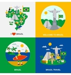 Brazilian culture 4 flat icons square vector