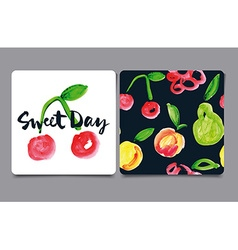 Card with fruit watercolor vector