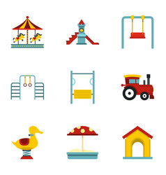 Children playing elements icons set flat style vector