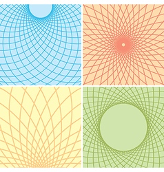 color backgrounds with curved grids - set vector image vector image