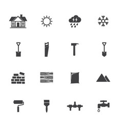 Construction equipment icons set vector
