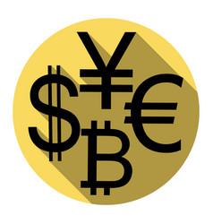 Currency sign collection dollar euro bitcoin vector