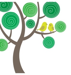 Decorative composition with two birds on the tree vector image vector image
