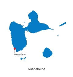 Detailed map of Guadeloupe and capital city vector image