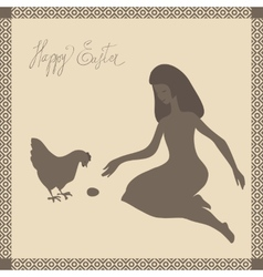 Easter card with girl and chicken in light-brown vector image vector image