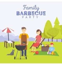 Family picnic bbq party food and barbeque vector