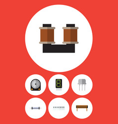 Flat icon technology set of bobbin resistor vector