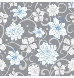 Gray sky blue swirl florals seamless vector