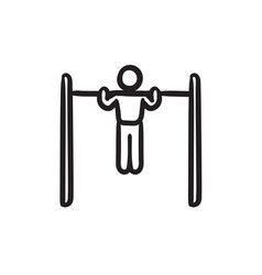 Gymnast exercising on bar sketch icon vector
