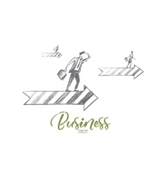 Hand drawn business people on arrow with lettering vector