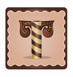Letter t candies chocolate vector