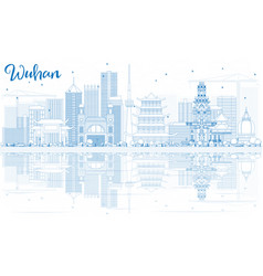 Outline wuhan skyline with blue buildings and vector