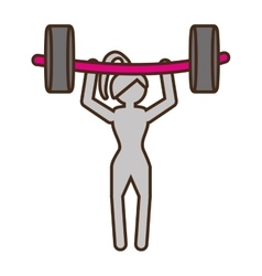 Pictogram girl weight lifting barbell fitness vector