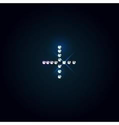 Plus symbol shiny diamond font vector