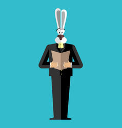 Rabbit businessman in suit wild animal people vector
