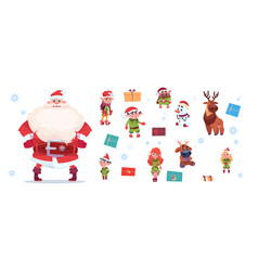 santa claus with elfs set isolated characters on vector image vector image