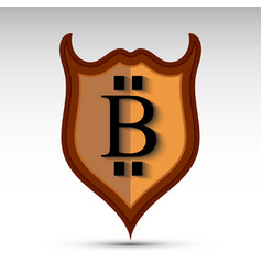 shield with bit coin symbol vector image vector image