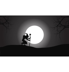 Silhouette of witch and full moon vector image vector image