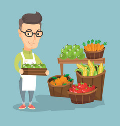 Supermarket worker with a box full of apples vector
