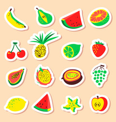 Tropical exotic fruits stickers set cute fresh vector