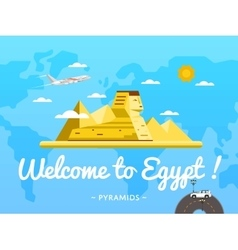 Welcome to egypt poster with famous attraction vector