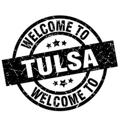welcome to tulsa black stamp vector image vector image
