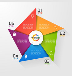 Windmill style infographic template 5 options vector
