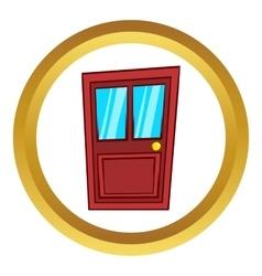 Wooden door with glass icon cartoon style vector
