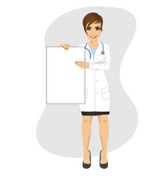 young female doctor holding empty blank board vector image vector image