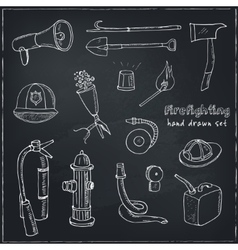 Doodle fire fighting tools set vintage vector