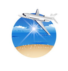 Beautiful summer postcard with beach and plane vector