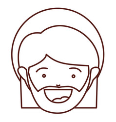 Brown silhouette of face saint joseph father vector